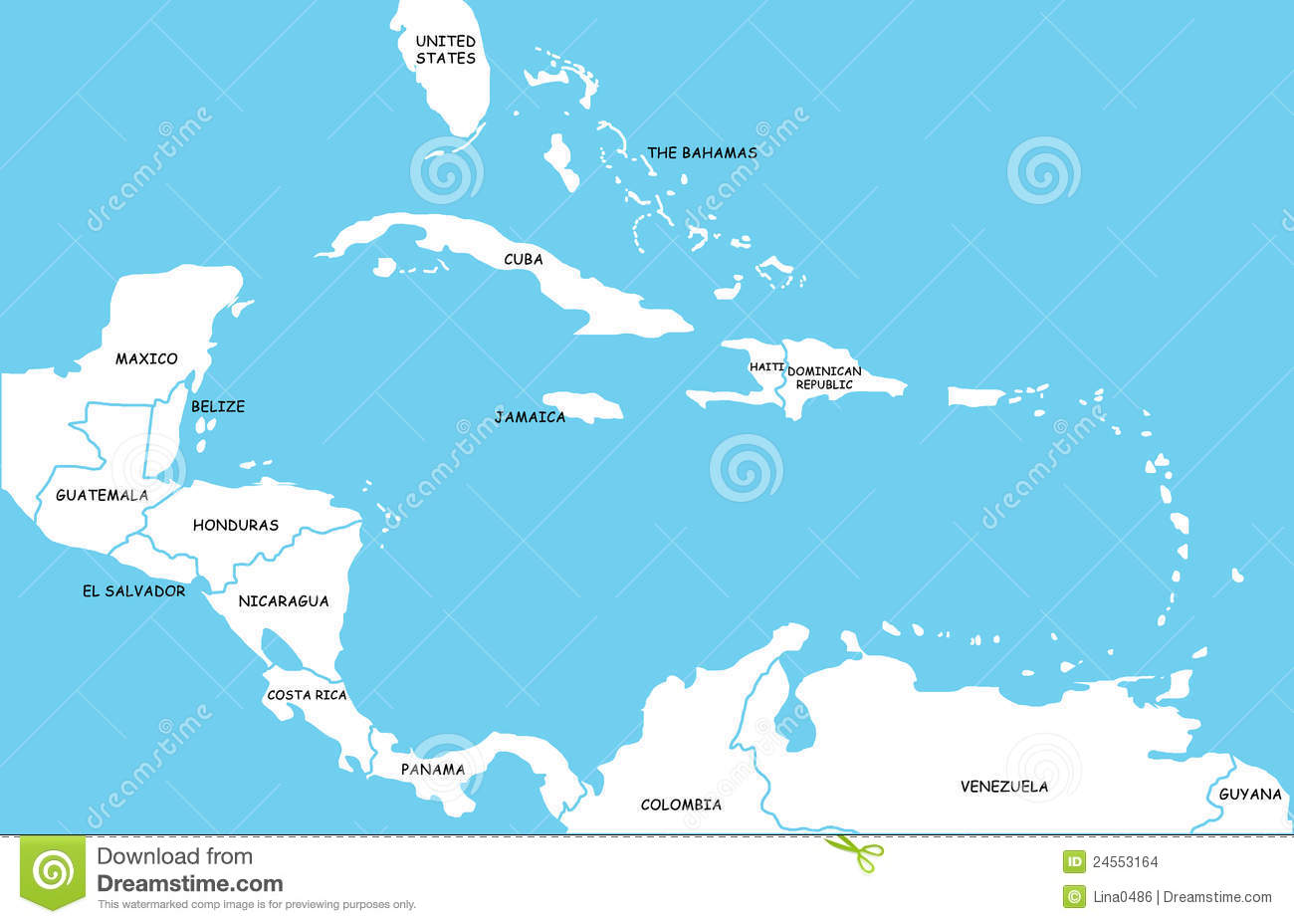 Administrative Map Of Central America And The Caribbean Countries - Map of central america and the caribbean islands