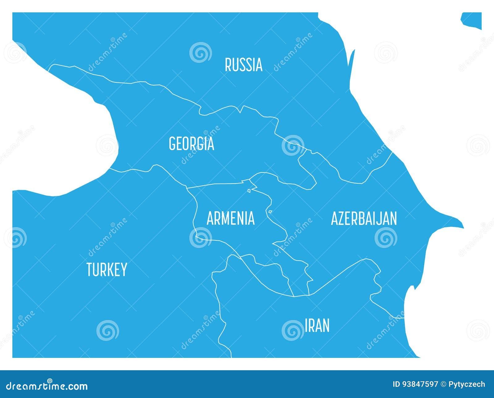 Georgia Turkey Azerbaijan Armenia On Europe Map Stock Vector