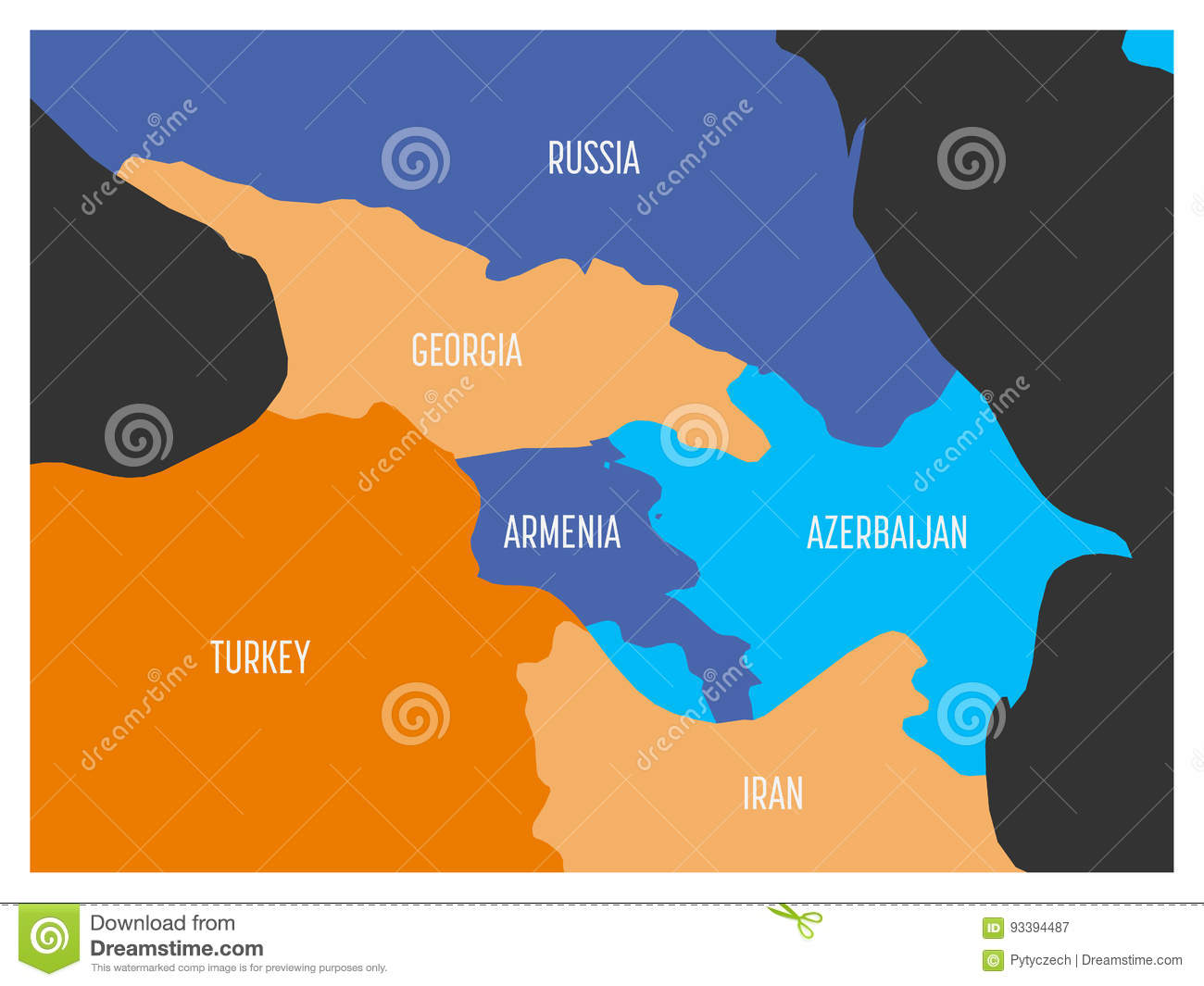 Map Of Caucasian Region With States Of Georgia Armenia Azerbaijan