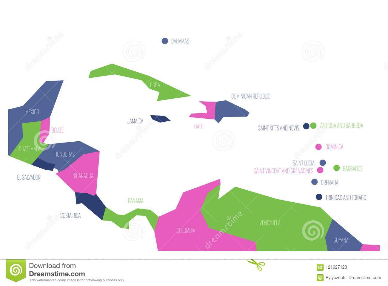 Map Of Central America And Caribbean. Simlified Schematic ... Central American And Caribbean Map on usa and central american map, american and central american map, southern and central american map,