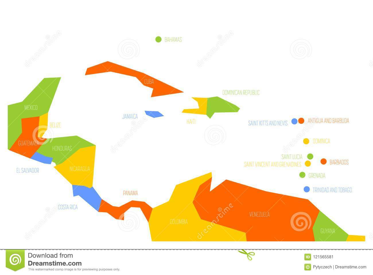 Map Of Central America And Caribbean. Simlified Schematic Vector Map ...