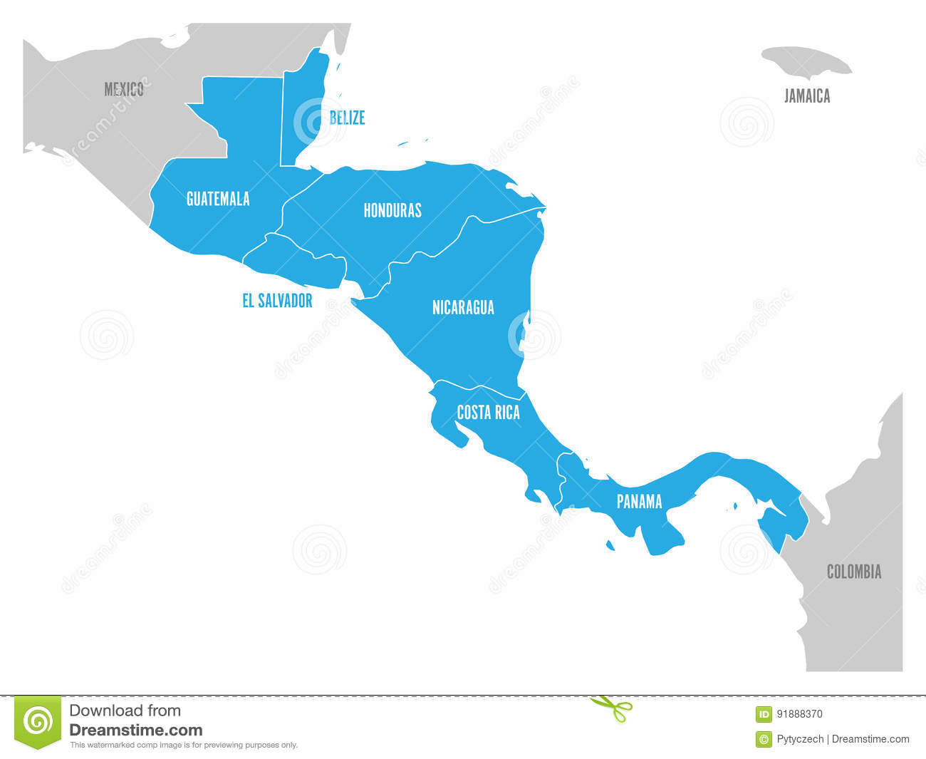 Map Of Central America Region With Blue Highlighted Central American