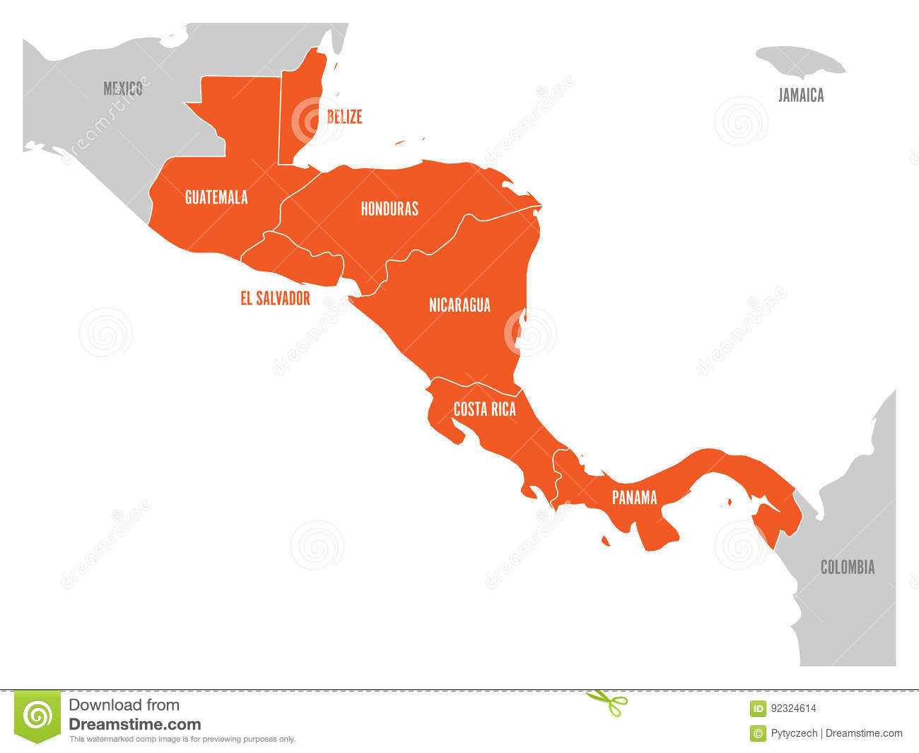 Map Of Central America Region With Red Highlighted Central American ...