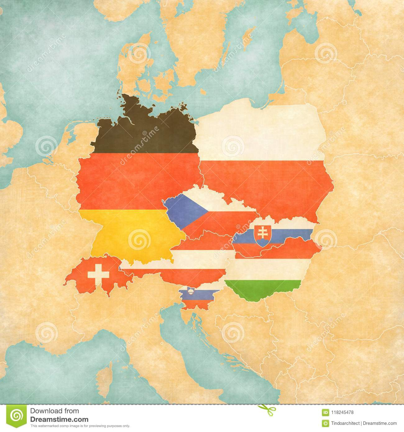 Map Of Central Europe - Flags Of All Countries Stock Illustration ...