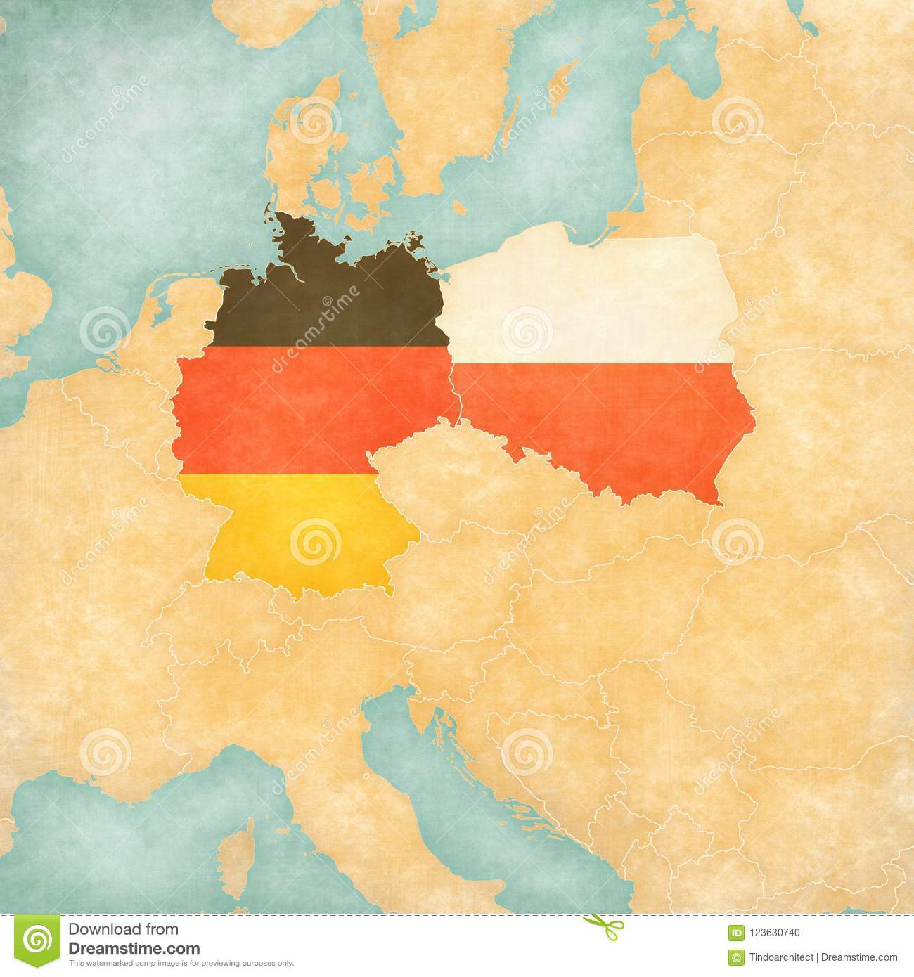 Map Of Central Europe - Germany And Poland Stock Illustration ...