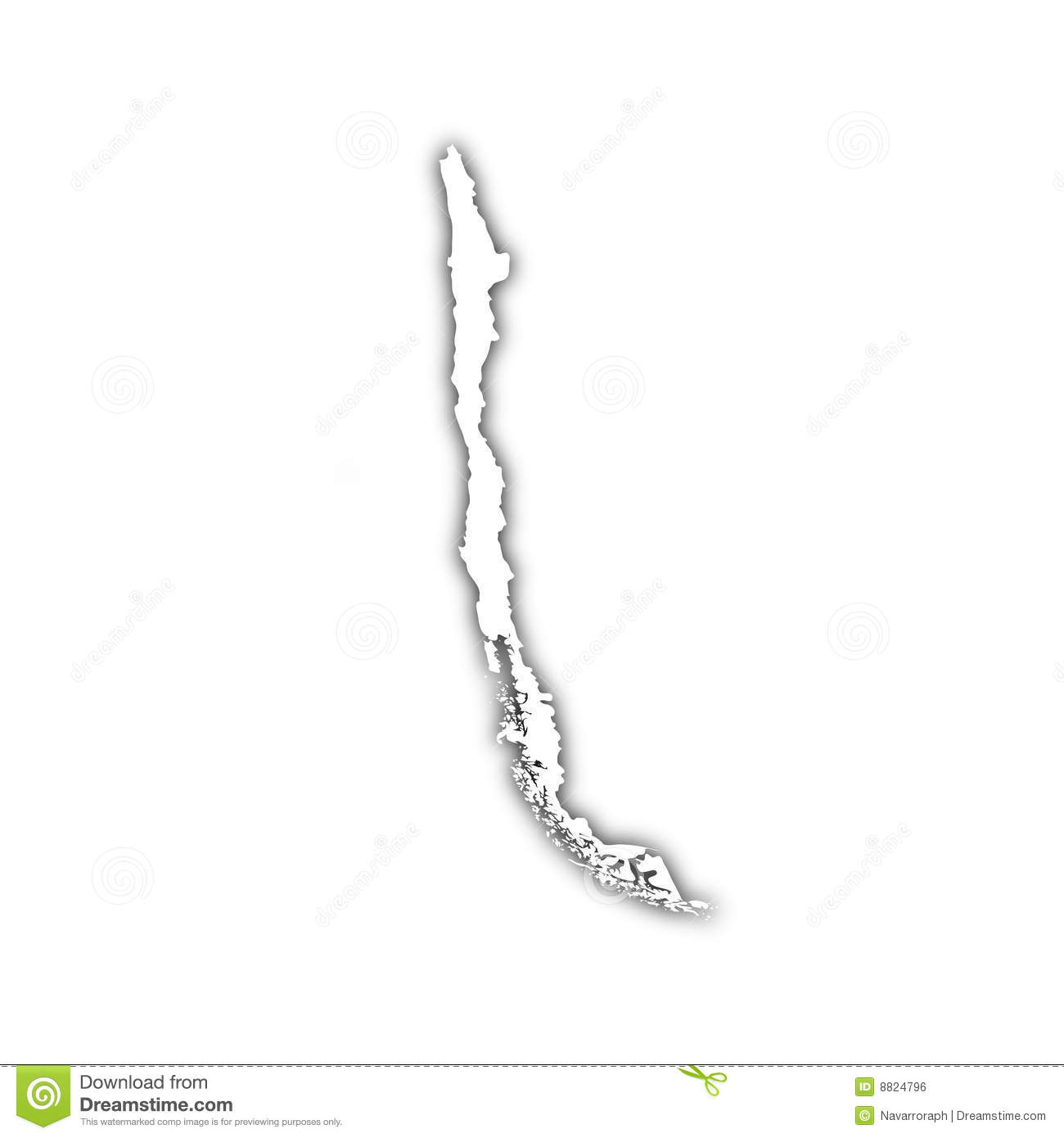 Map Of Chile With Shadow Royalty Free Stock Image - Image: 8824796
