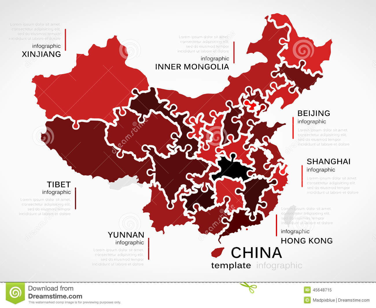 Map of china stock vector illustration of concept provinces 45648715 map of china concept infographic template with provinces made out of puzzle pieces gumiabroncs Images
