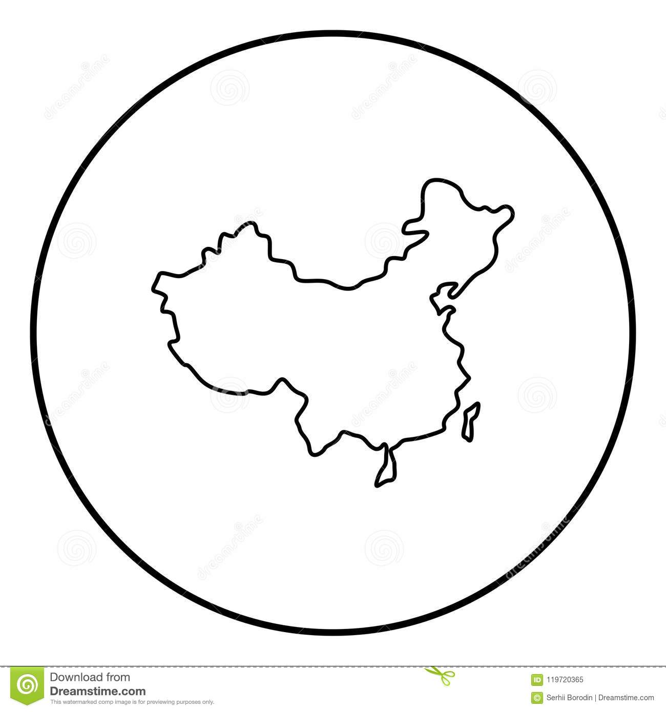 Map Of China Icon Black Color In Circle Round Stock Vector ...