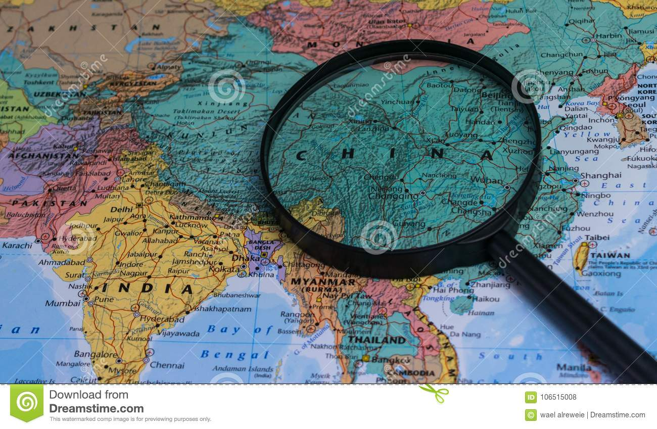 Map of china through magnifying glass on a world map stock photo download comp gumiabroncs Images