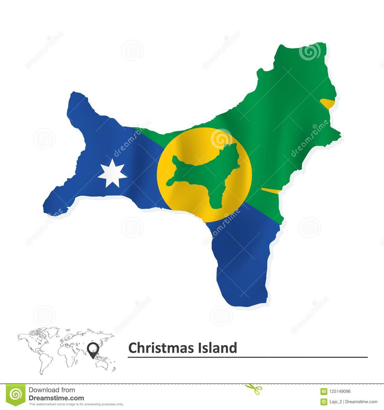 Map Of Christmas Island With Flag Stock Vector Illustration Of