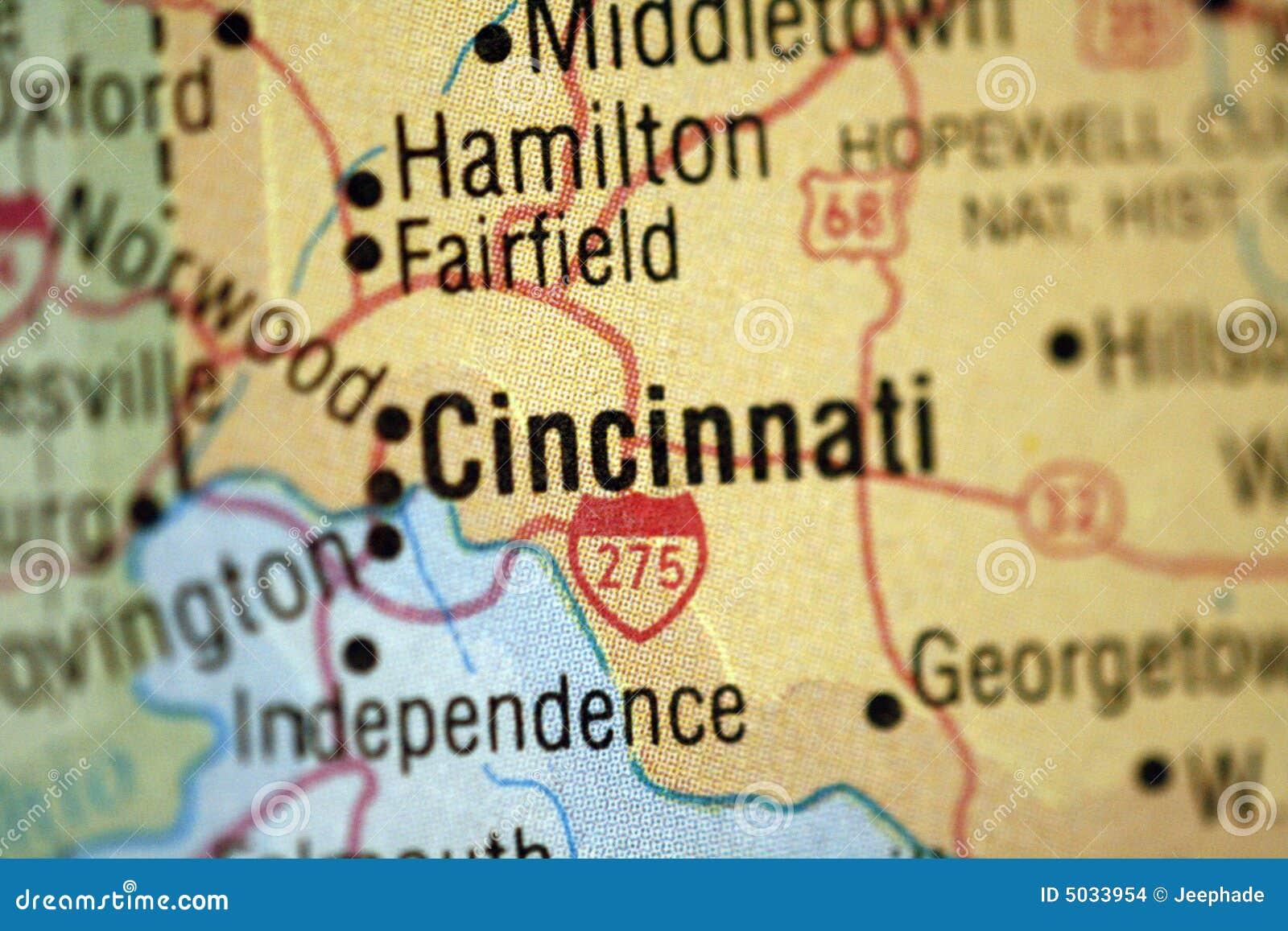 Map Of Cincinnati Ohio Stock Photo Image Of Ohio Cincinnati 5033954