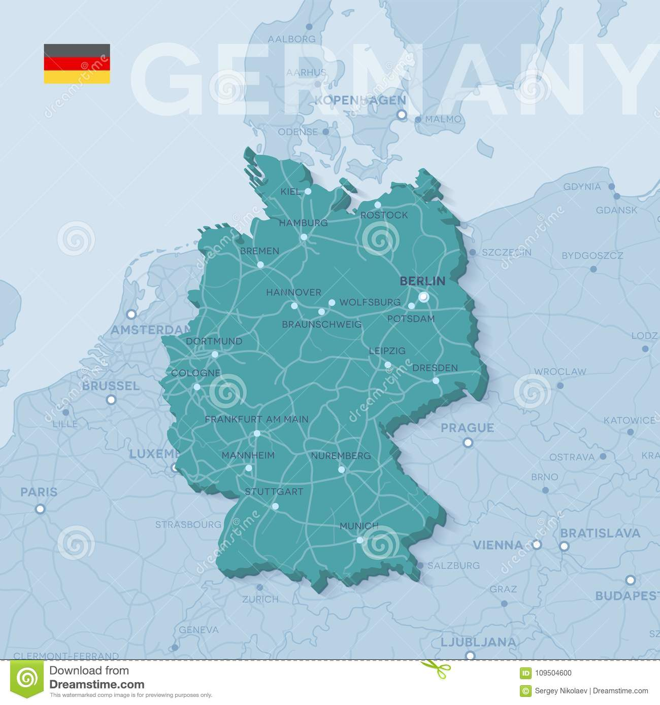 Europe Political Map With Cities.Map Of Cities And Roads In Germany Stock Vector Illustration Of