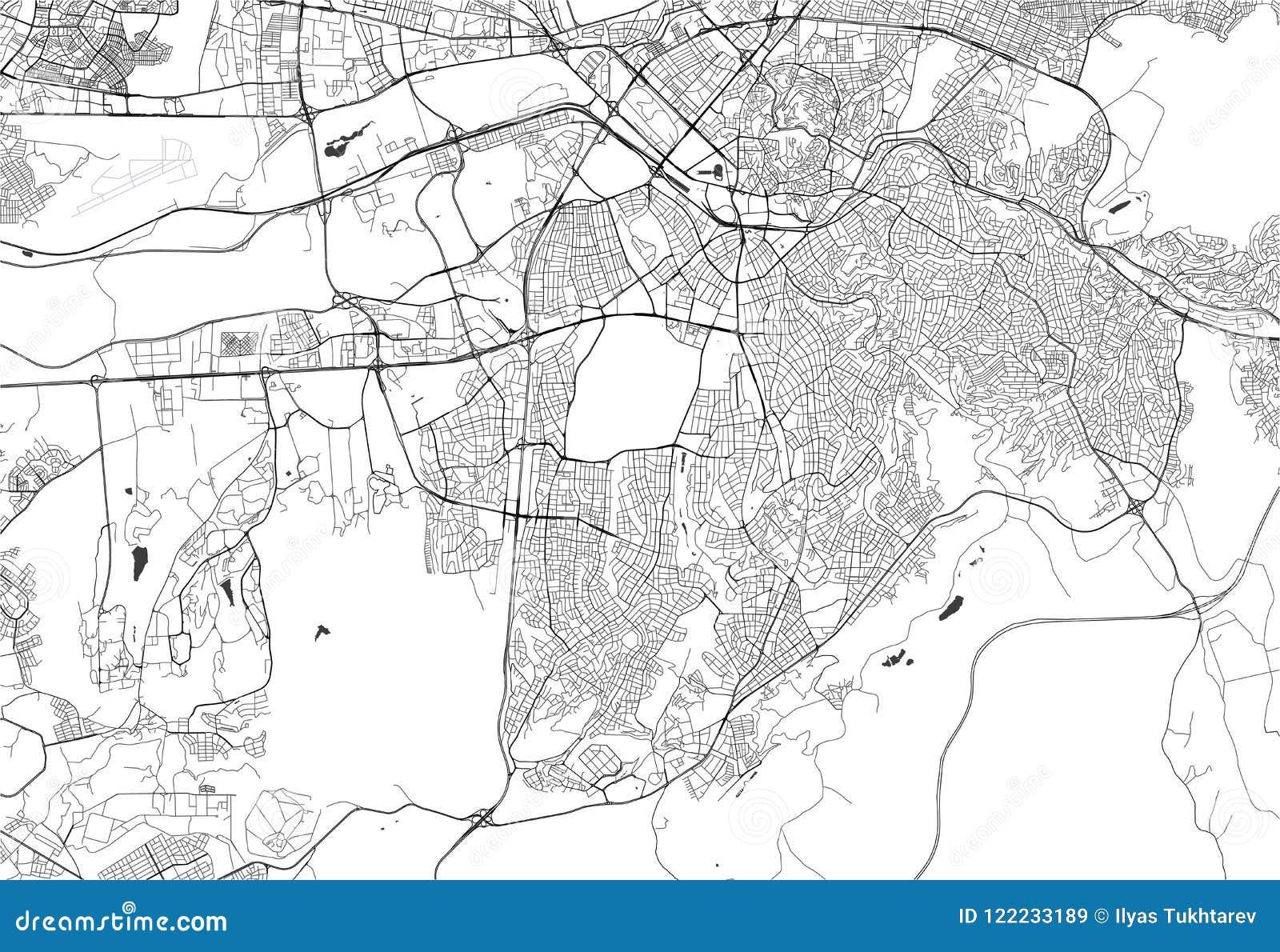 Map Of The City Of Ankara, Turkey Stock Illustration - Illustration ...