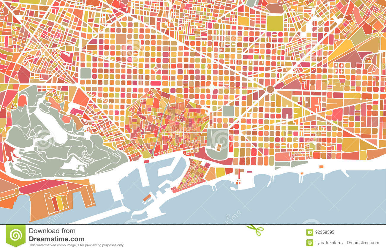 Map Of The City Of Barcelona Spain Stock Vector Illustration Of