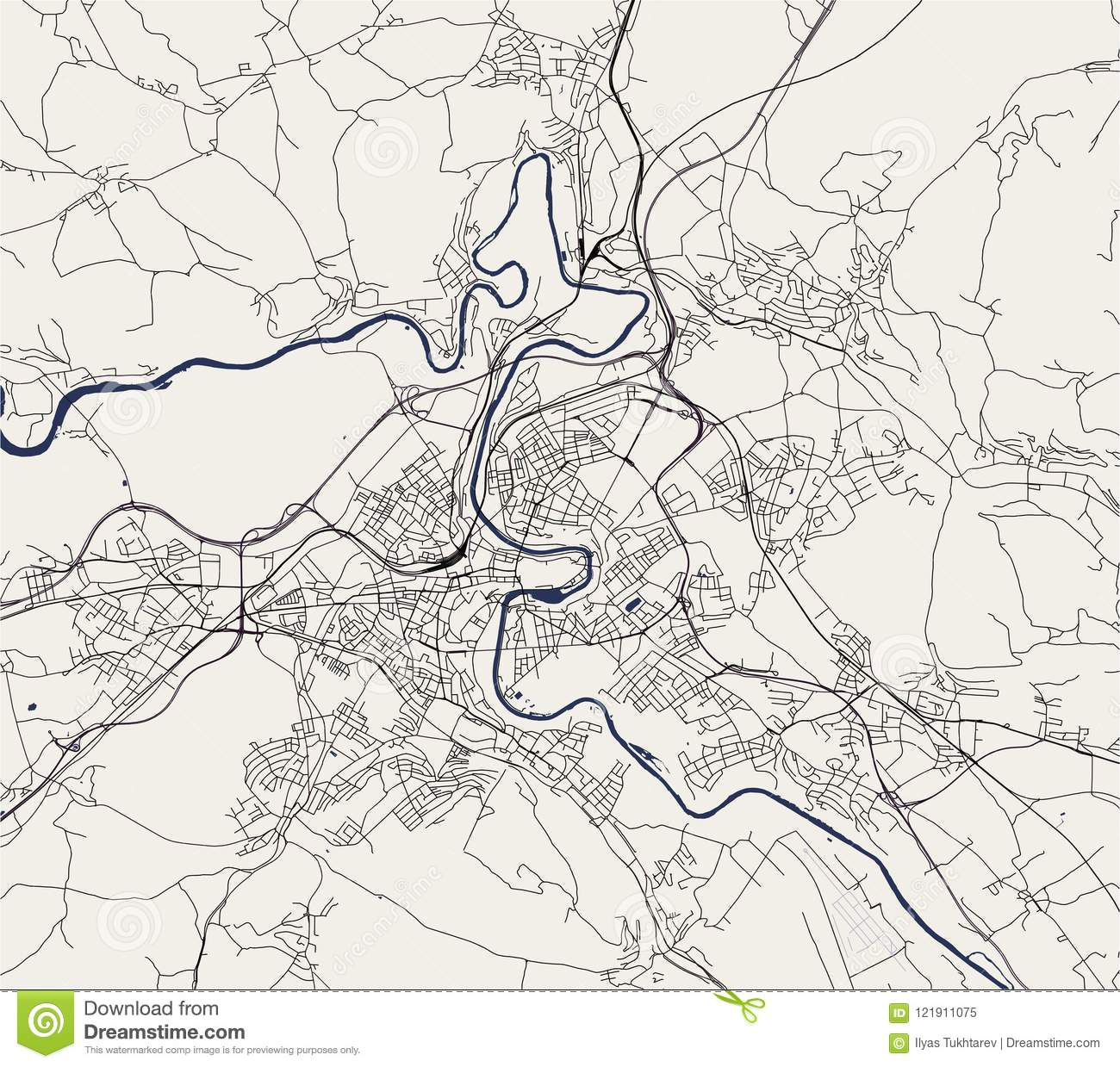 Map Of The City Of Bern, Switzerland Stock Illustration ...