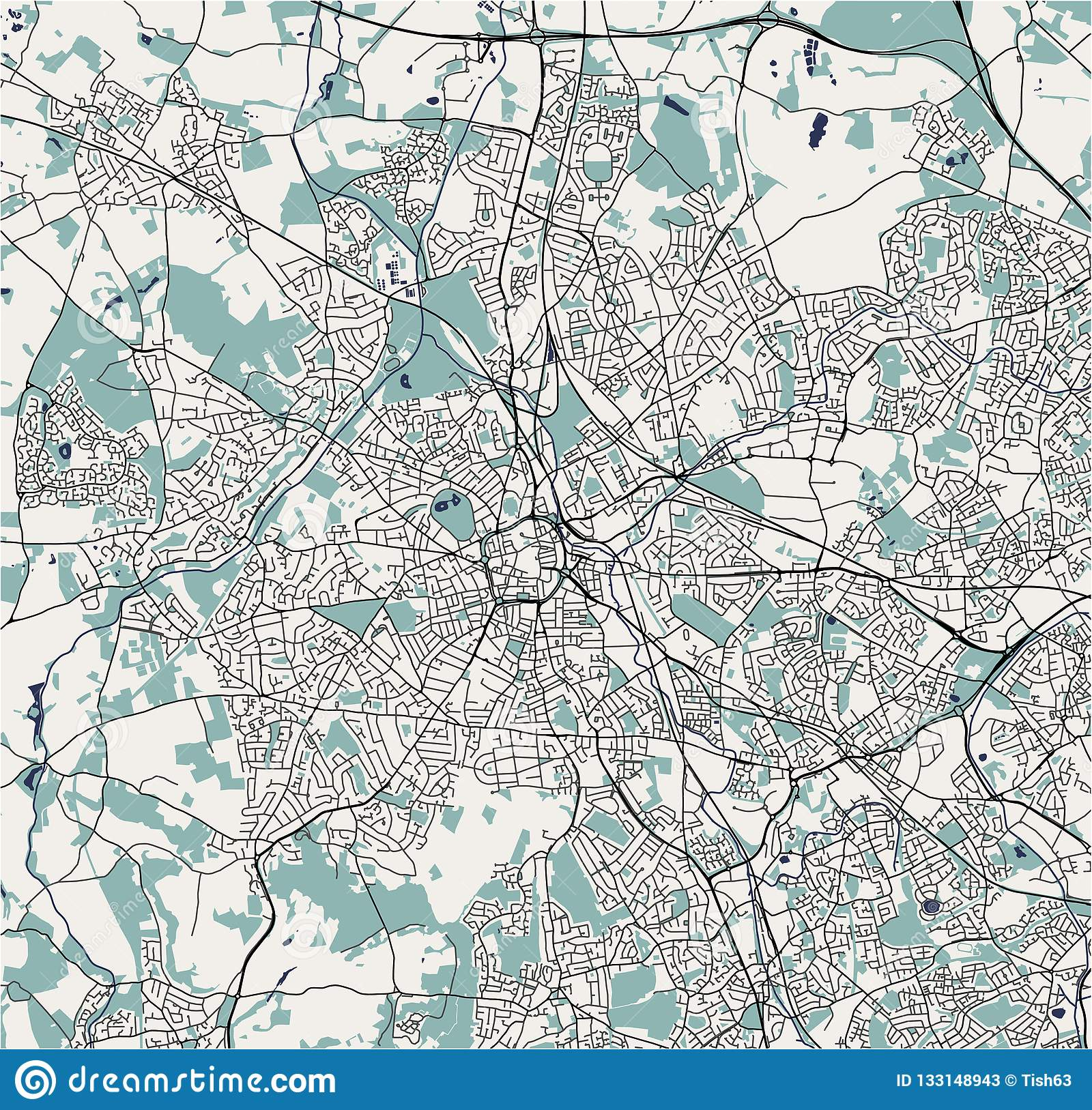 Map Of The City Of Birmingham Wolverhampton English Midlands