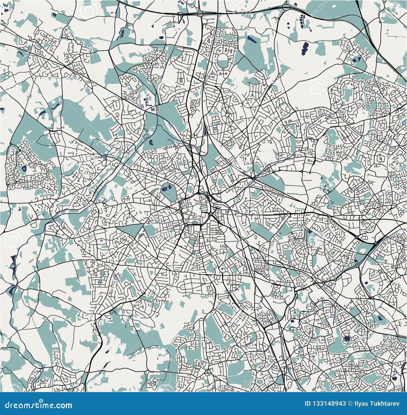 Map Of England Midlands.Map Of The City Of Birmingham Wolverhampton English Midlands
