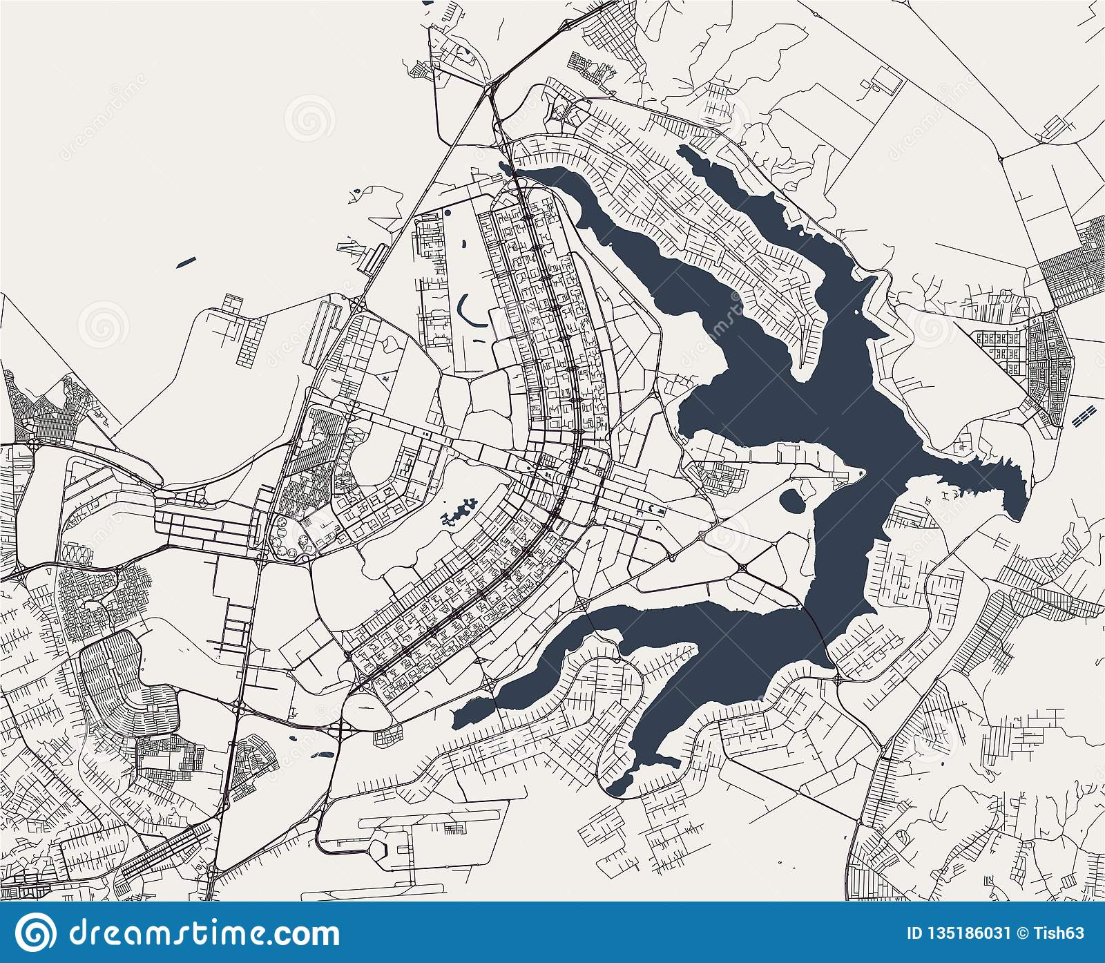 Picture of: Map Of The City Of Brasilia Capital Of Brazil Stock Illustration Illustration Of Brasilia Background 135186031