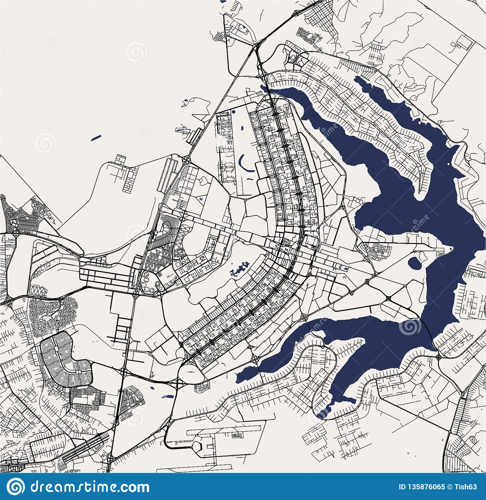 Picture of: Map Of The City Of Brasilia Capital Of Brazil Stock Illustration Illustration Of Highway Planing 135876065