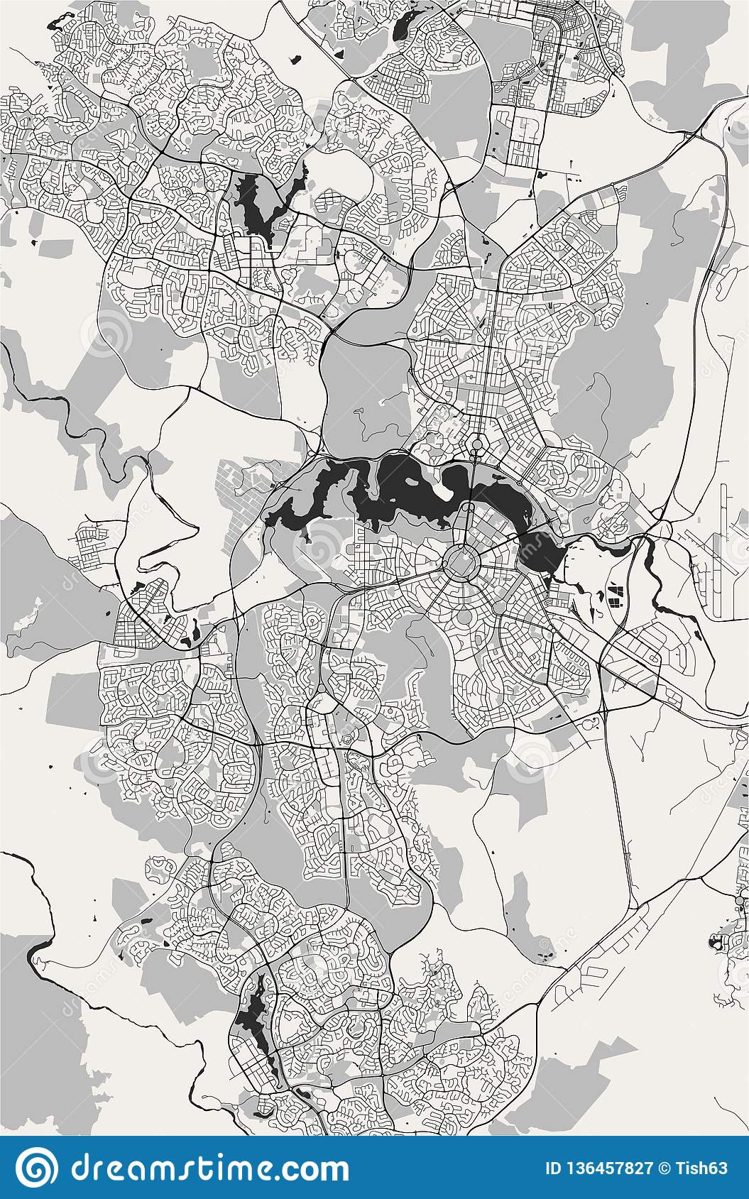Map of the city of Canberra, Australian Capital Territory, Australia