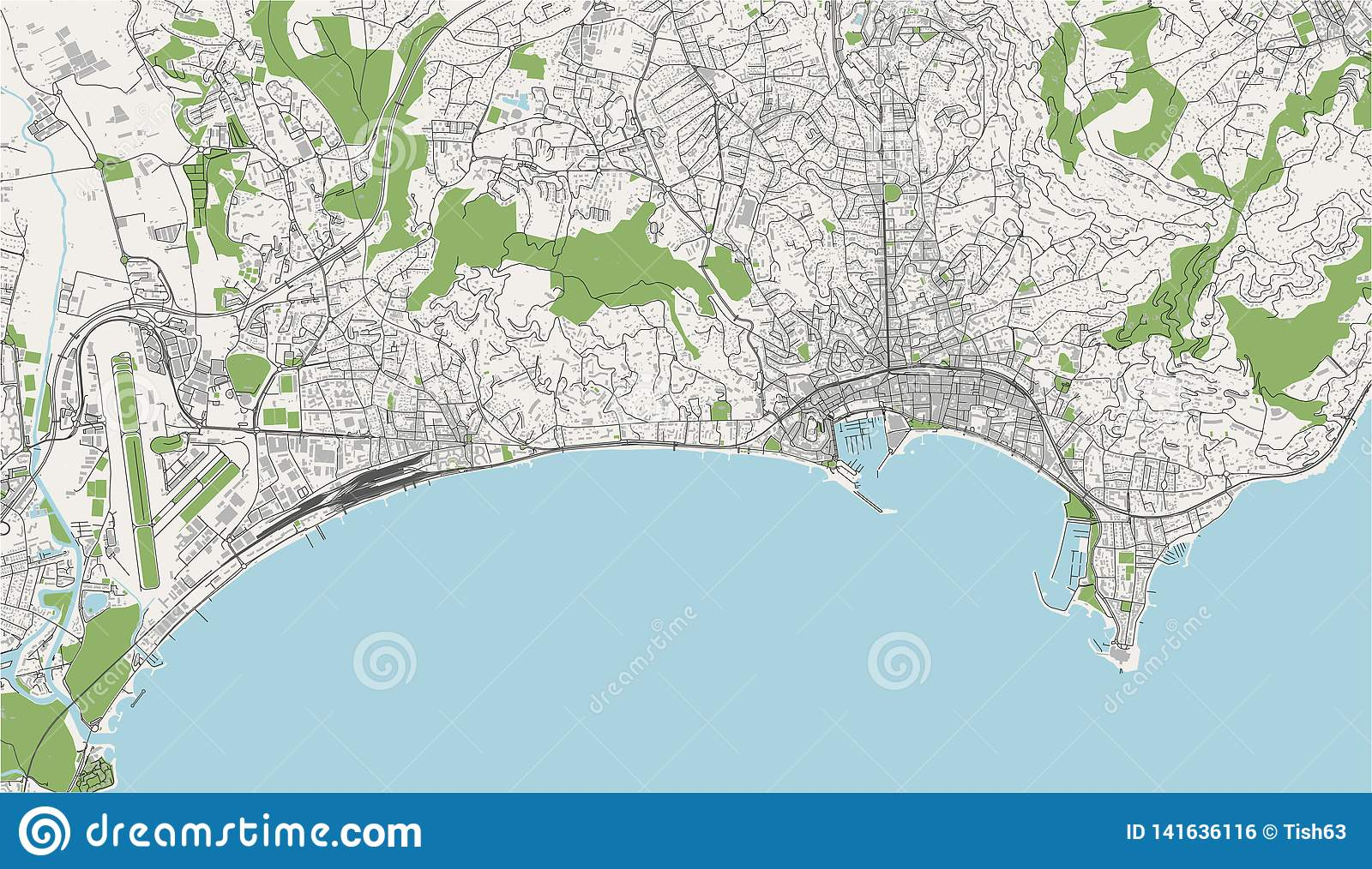 Map Of The City Of Cannes, France Stock Illustration - Illustration Cannes Map on