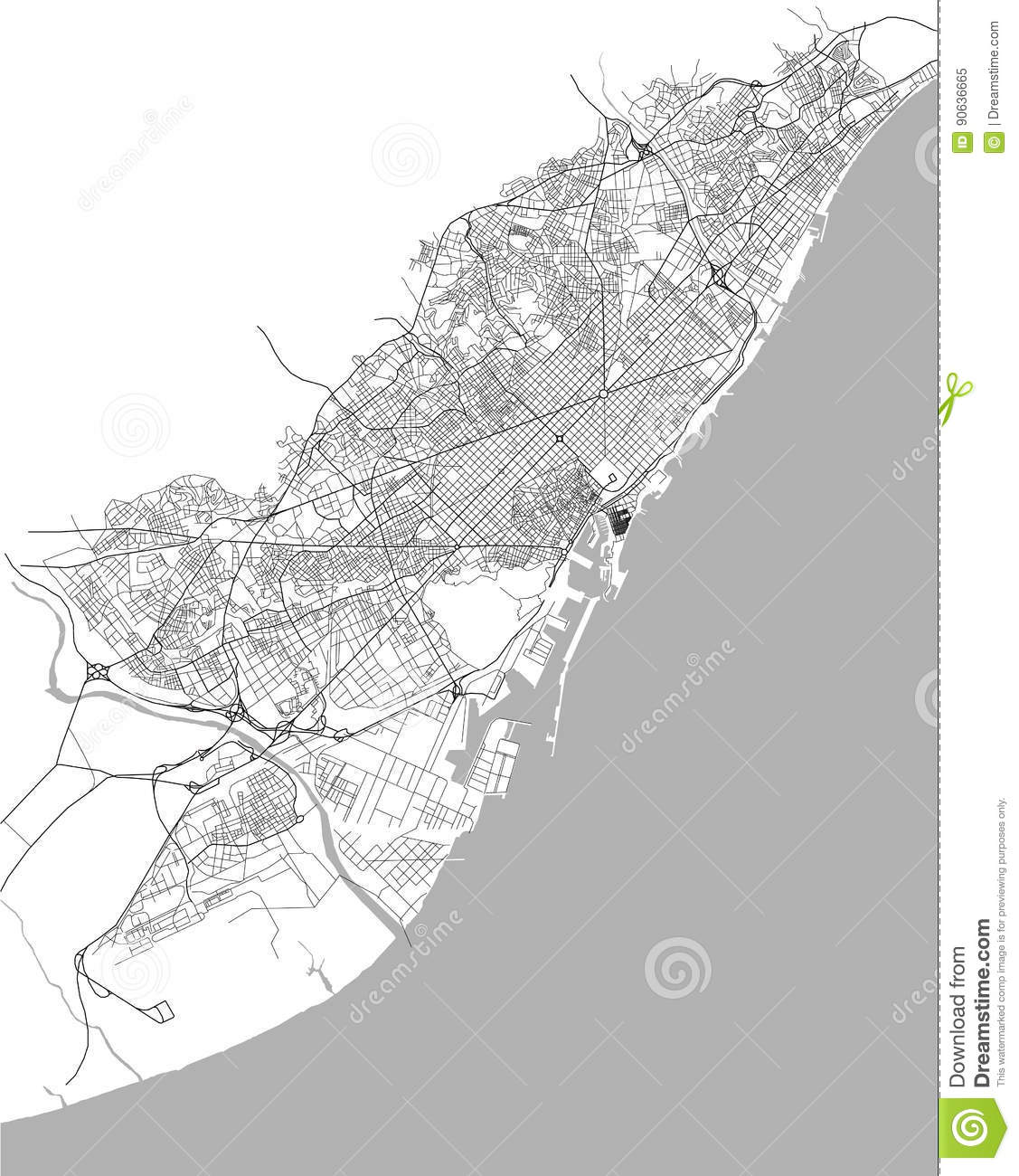 Barcelona In Spain Map.Map Of The City Center Of Barcelona Spain Stock Illustration