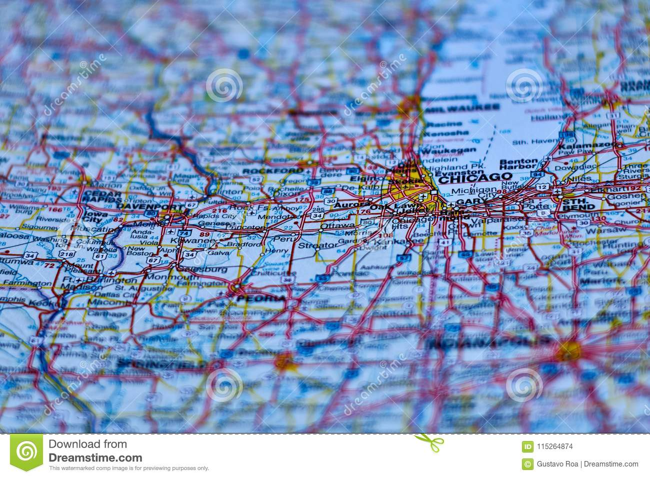 Chicago America Map.Map Of The City Of Chicago Ilinios Stock Photo Image Of Ilinios