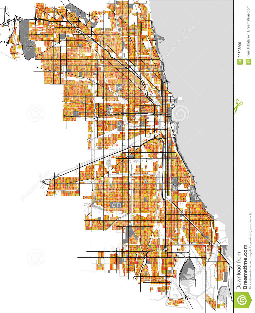 Map Of The City Of Chicago, USA Stock Vector - Illustration of place Chicago Map Of Usa on