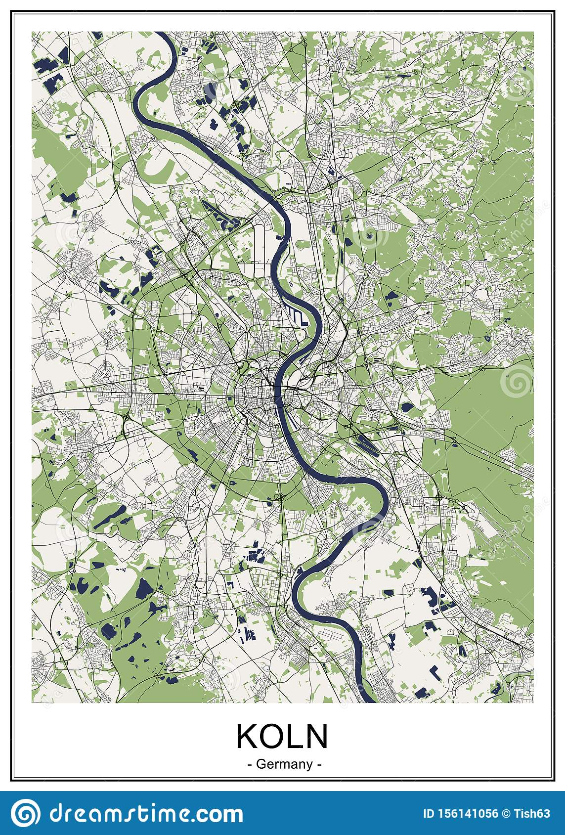 Map Of The City Of Cologne, Germany Stock Vector ...
