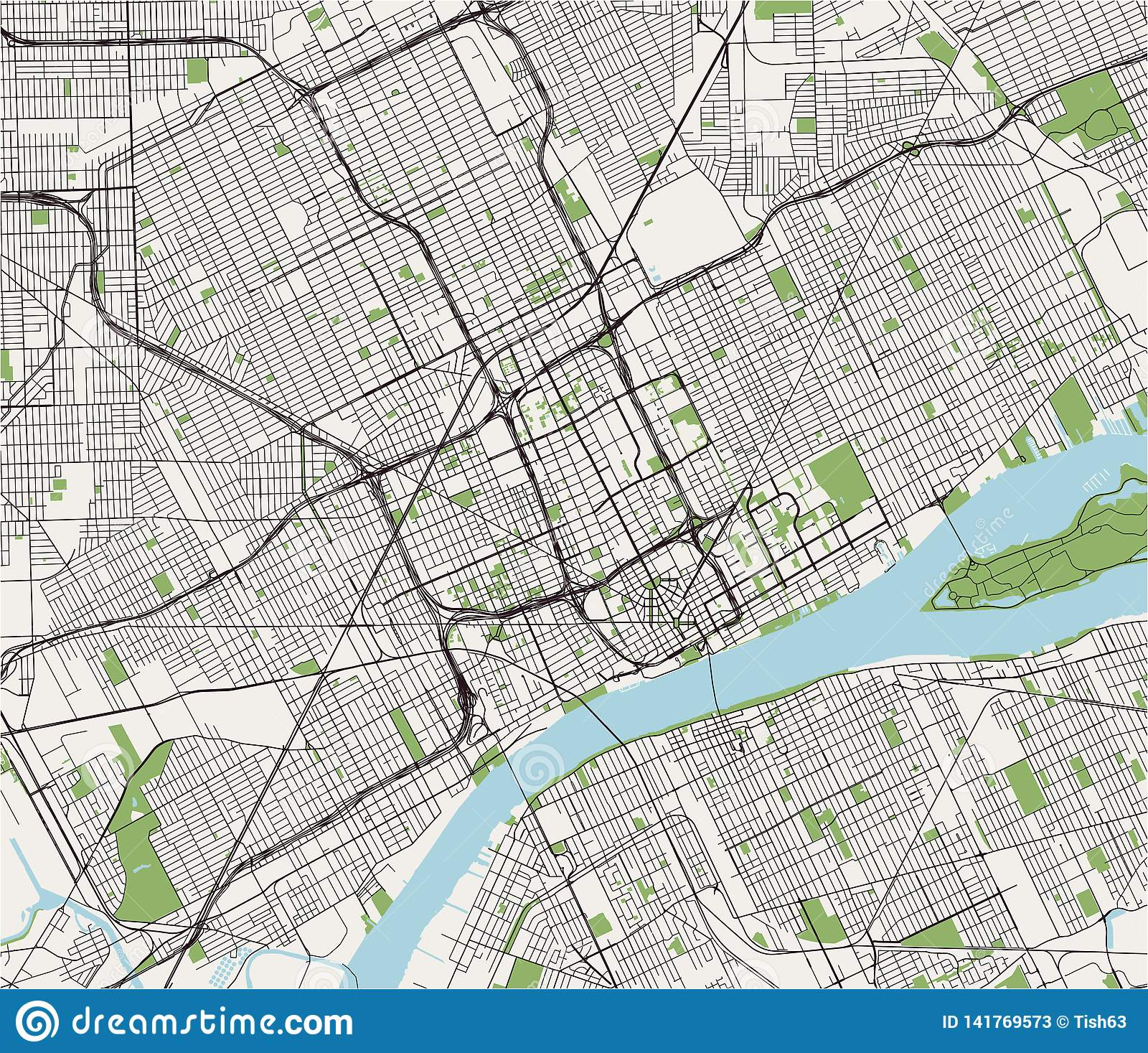 Map Of The City Of Detroit, Michigan, USA Stock Illustration ...