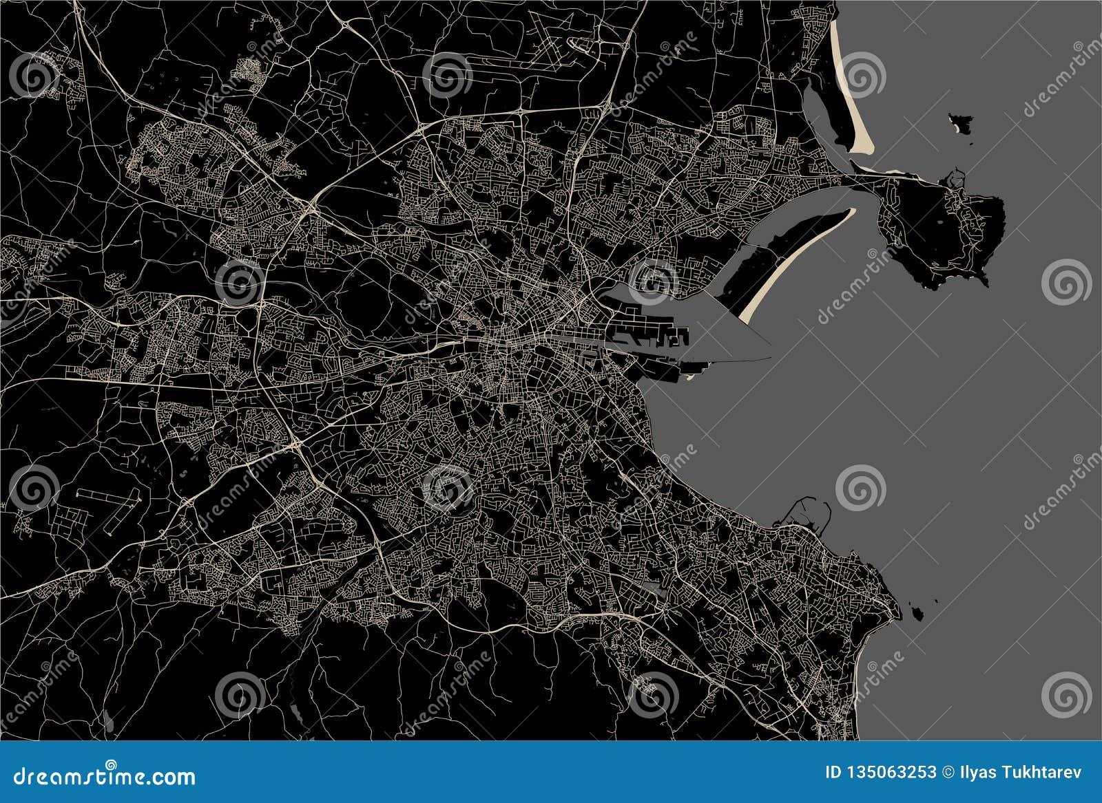 Map Of The City Of Dublin, Ireland Stock Vector ...