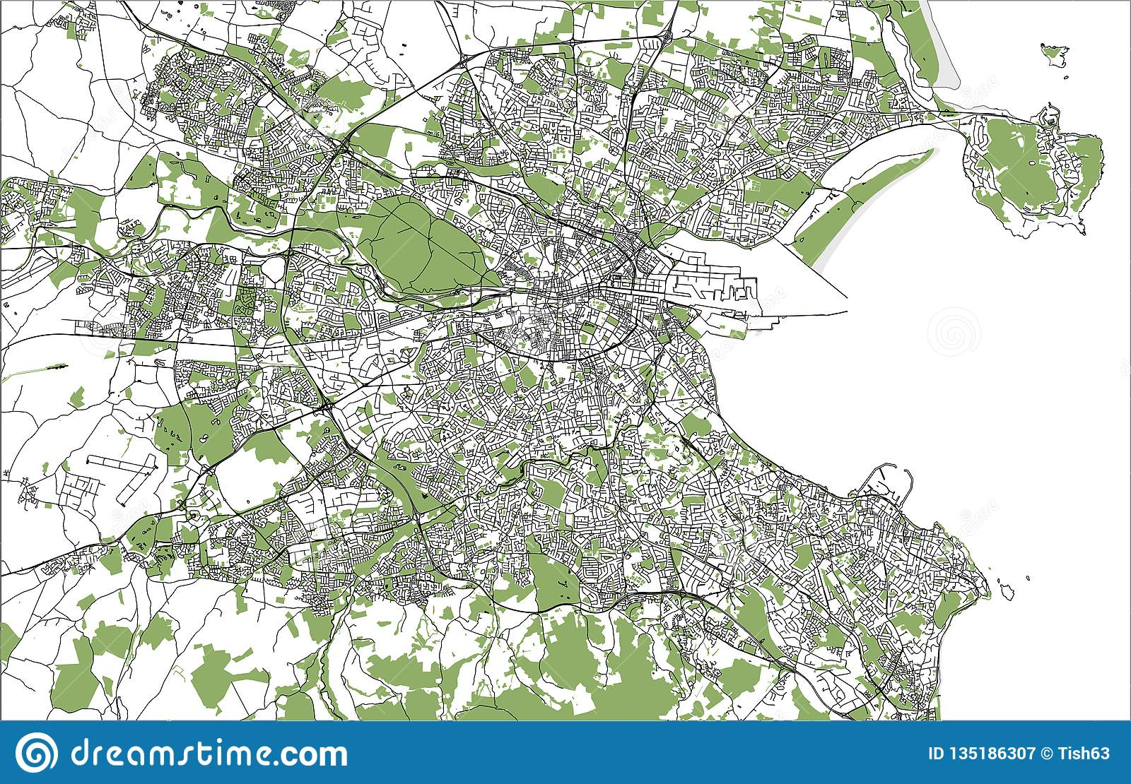 City Map Of Dublin Ireland.Map Of The City Of Dublin Ireland Stock Illustration Illustration