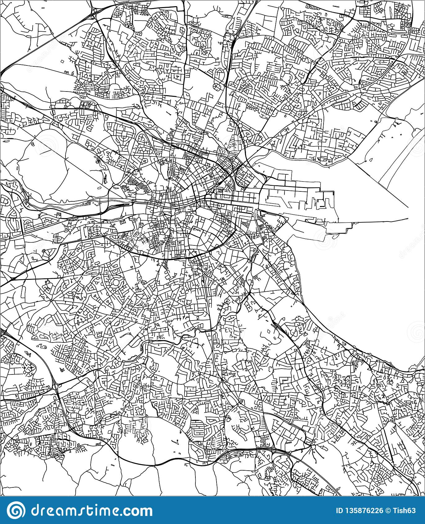 Map Of Dublin 7 Ireland.Map Of The City Of Dublin Ireland Stock Illustration Illustration