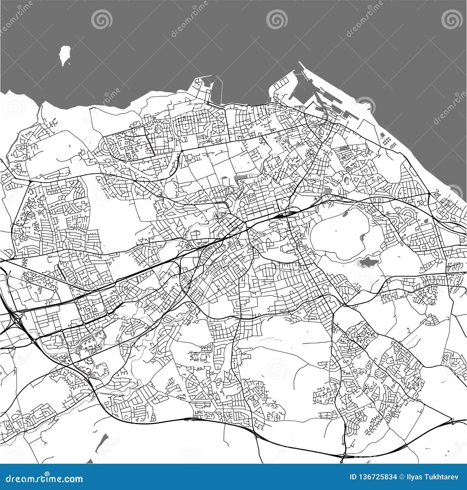 Map Of The City Of Edinburgh, Scotland, United Kingdom Stock ...