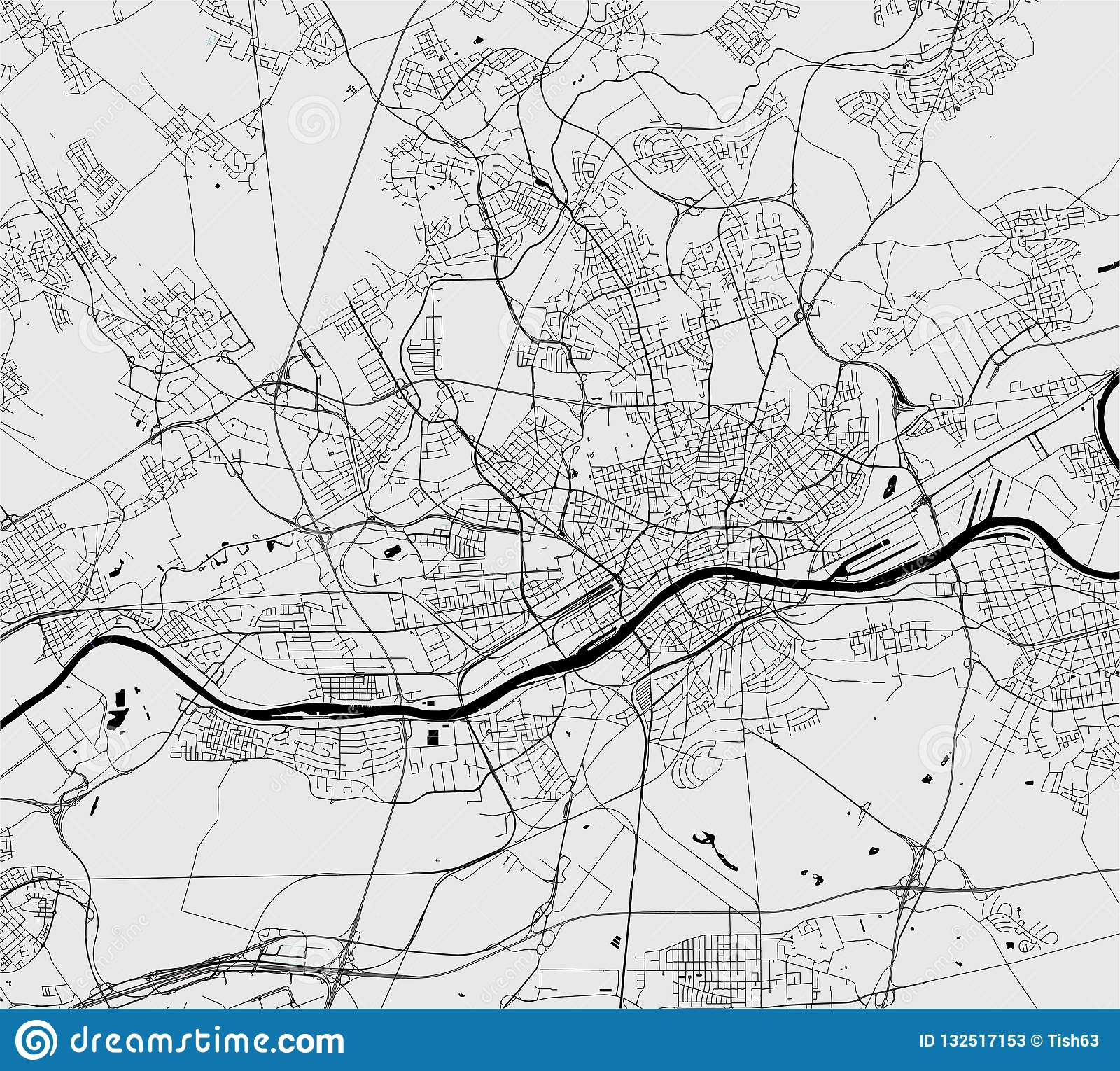 Map Of The City Of Frankfurt Am Main Hesse Germany Stock Vector