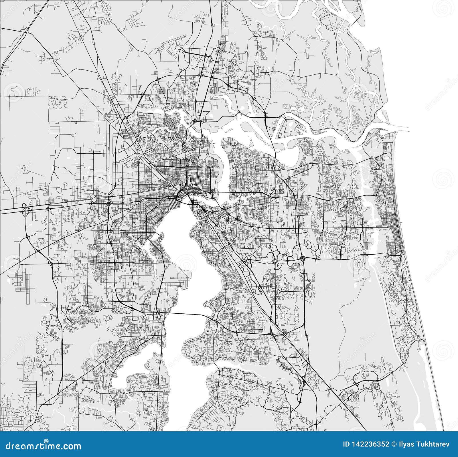 Florida Usa Map Cities.Map Of The City Of Jacksonville Florida Usa Stock
