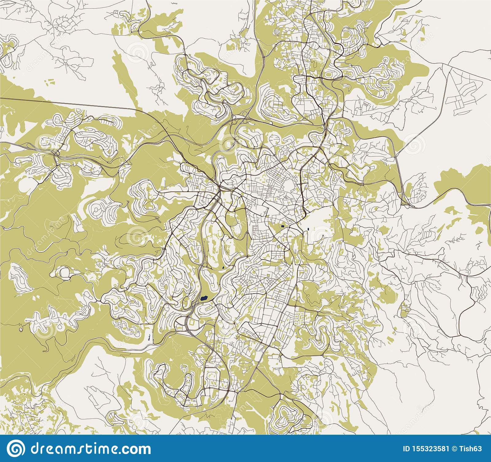 Map Of The City Of Jerusalem, Israel Stock Illustration ...