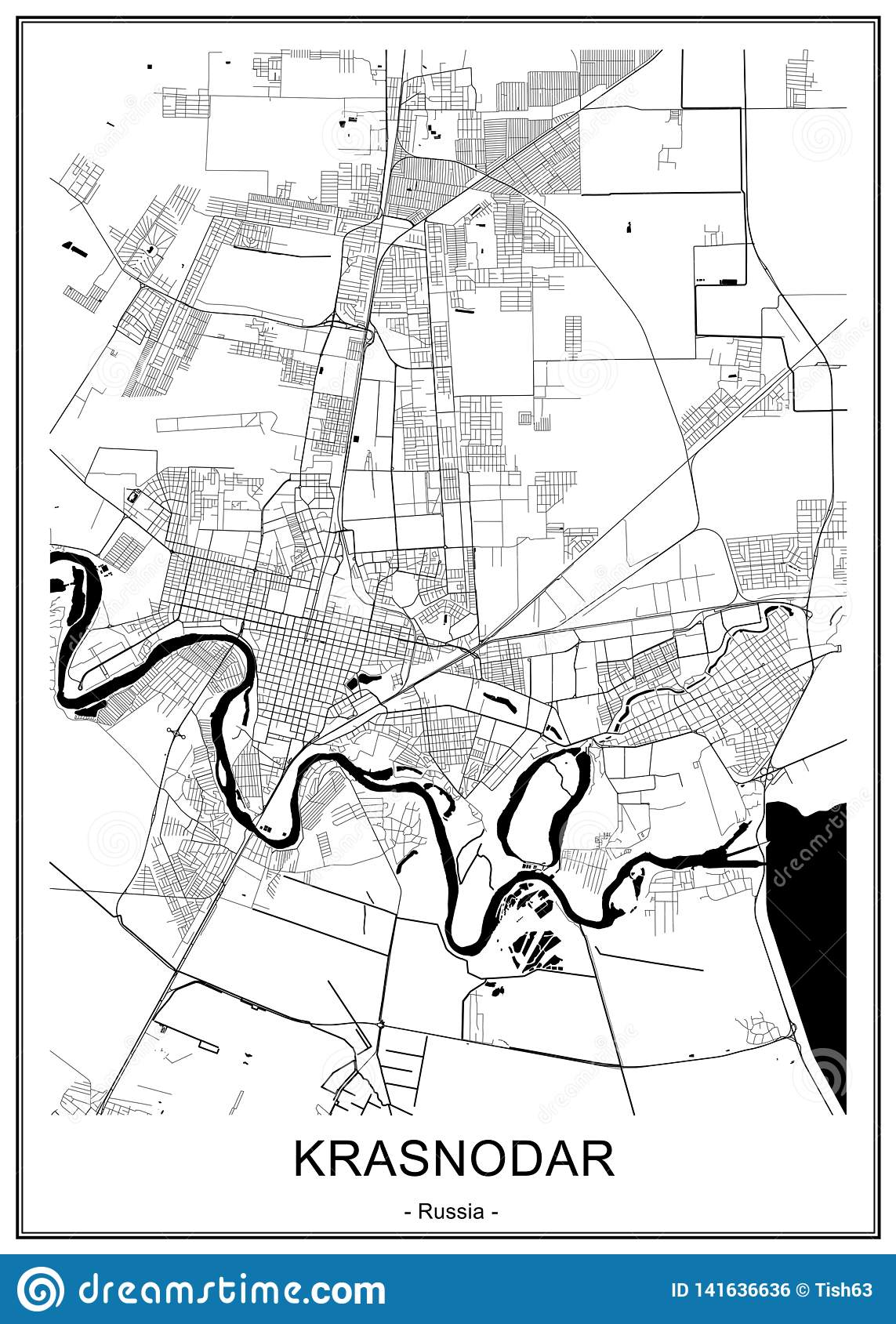 Map Of The City Of Krasnodar Russia Stock Illustration Illustration Of 2021 Scheme 141636636