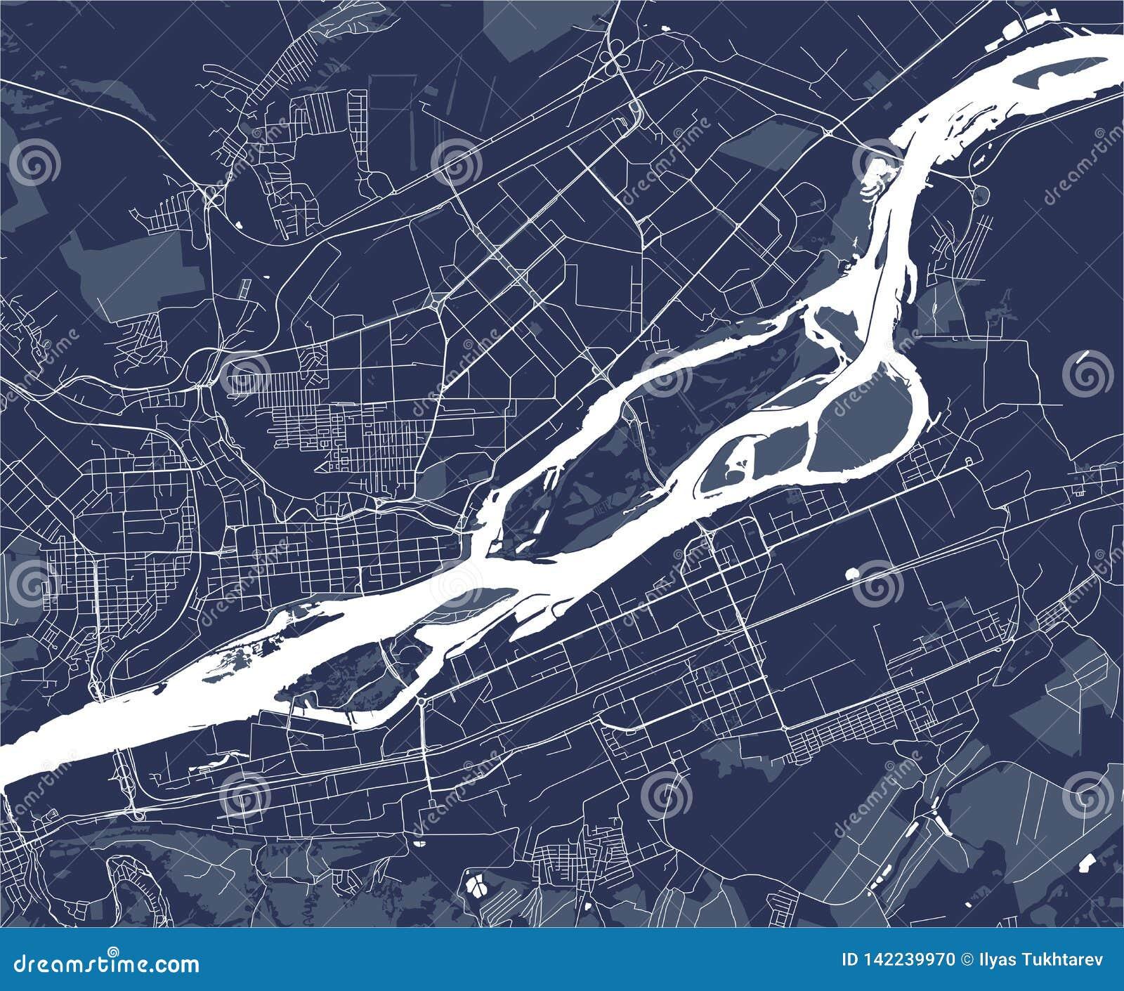 Map of the city of Krasnoyarsk, Russia