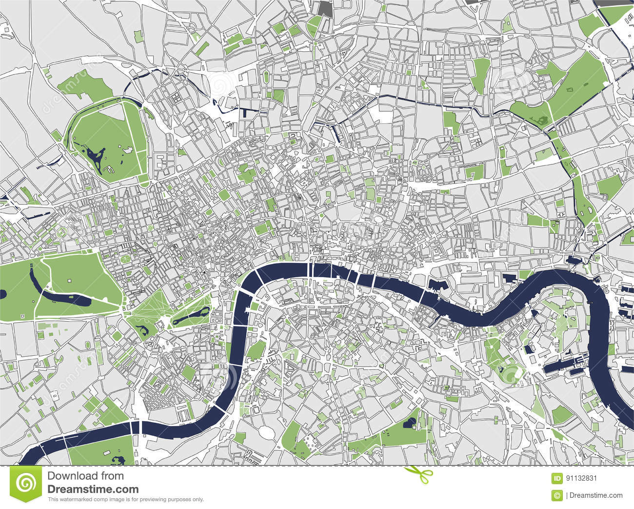 Map Of City Of London.Map Of The City Of London Great Britain Stock Illustration