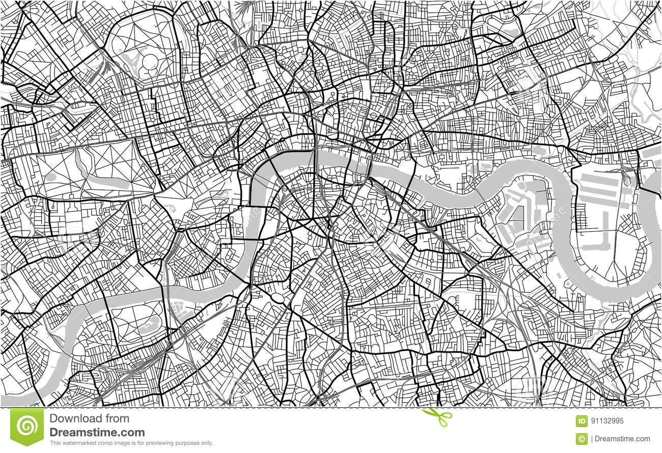 London Free Map.Map Of The City Of London Great Britain Stock Illustration