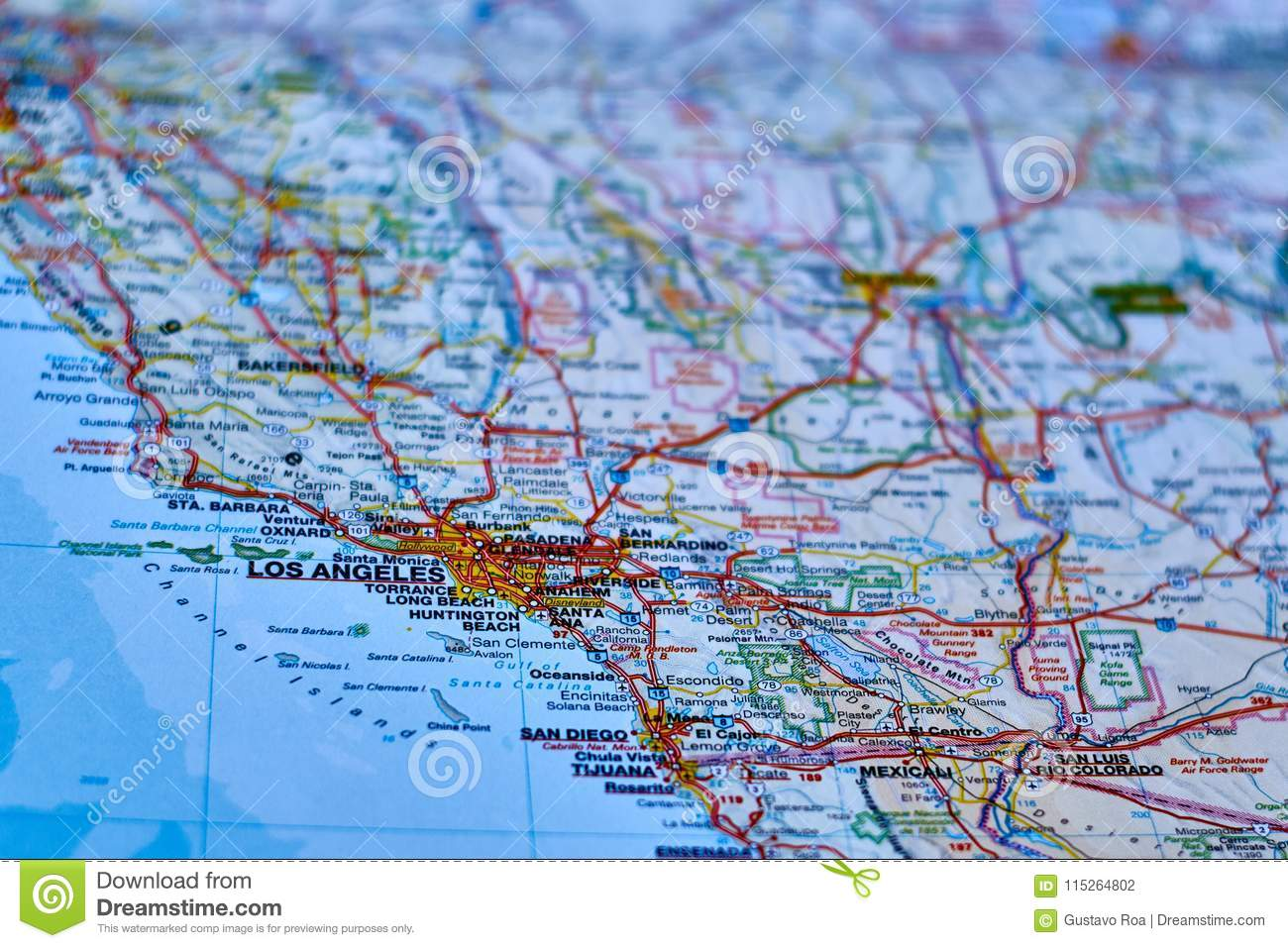 Map Of The City Of Los Angeles California Stock Photo Image Of