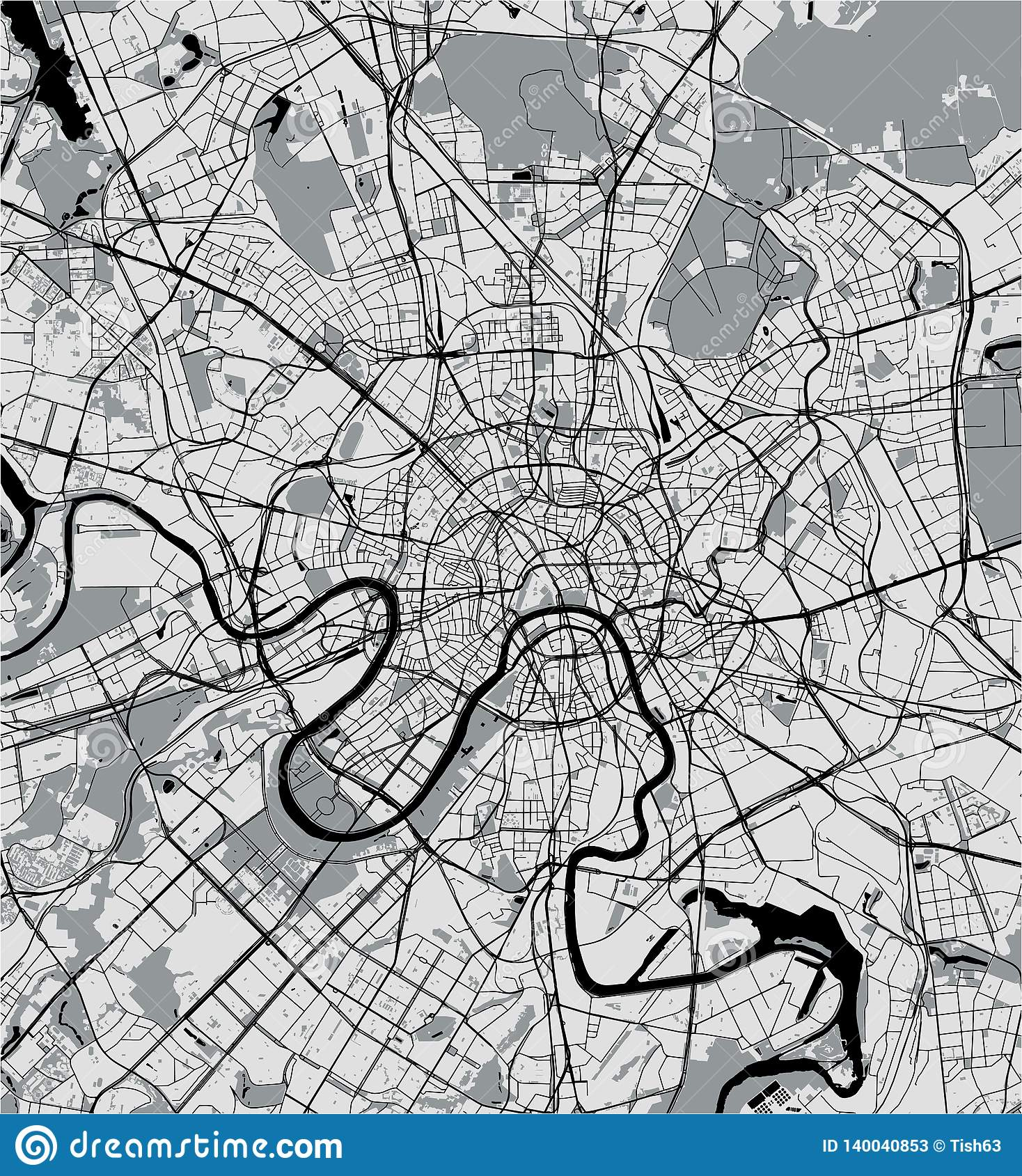 Map of the city of Moscow, Russia