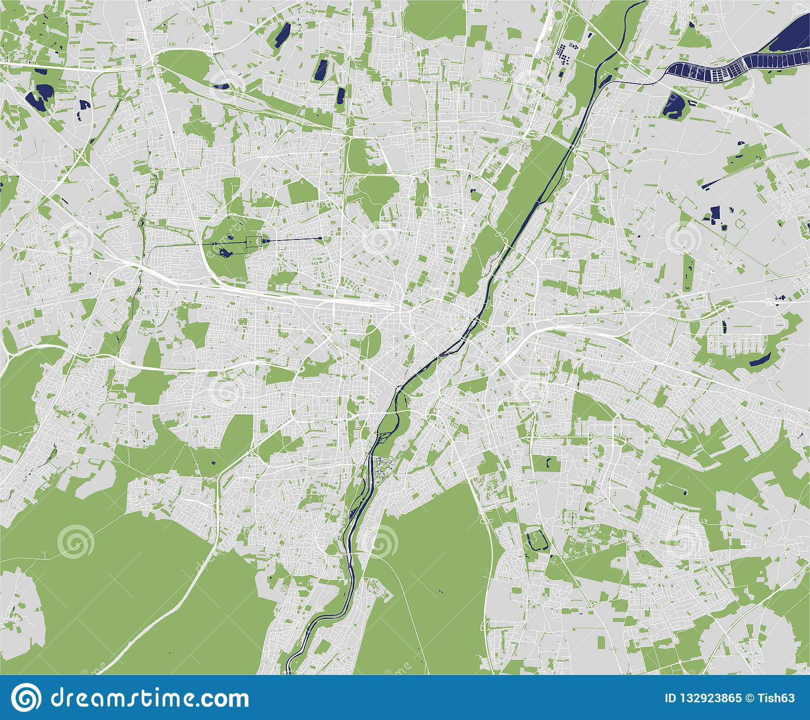 Map Of The City Of Munich Bavaria Germany Stock Illustration