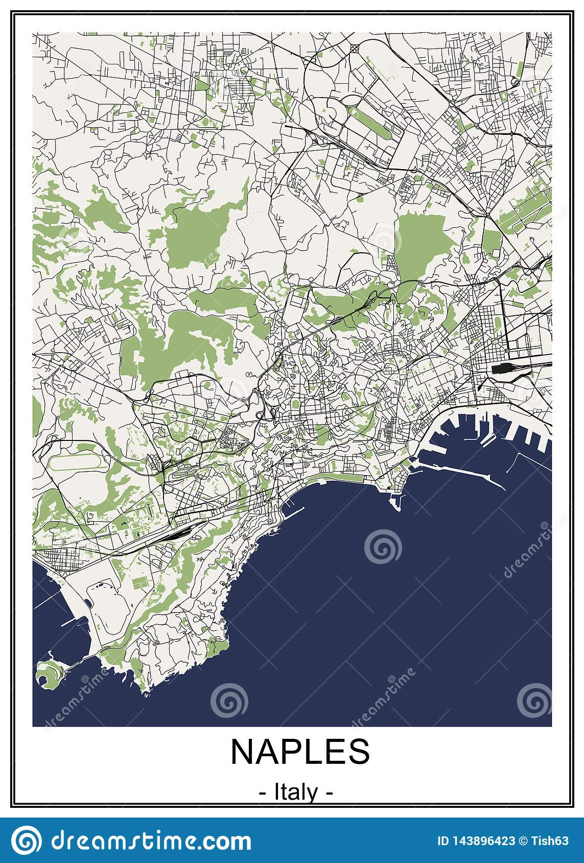 Map Of The City Of Naples, Campania, Italy Stock ...