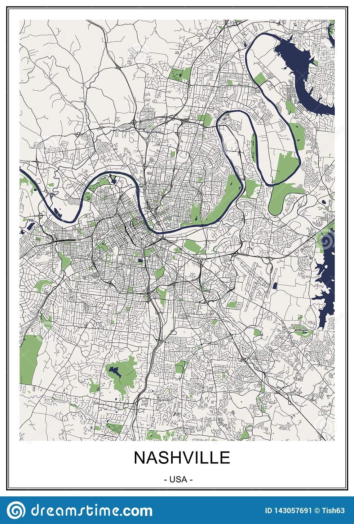 Map Of The City Of Nashville, Tennessee, USA Stock Illustration ...