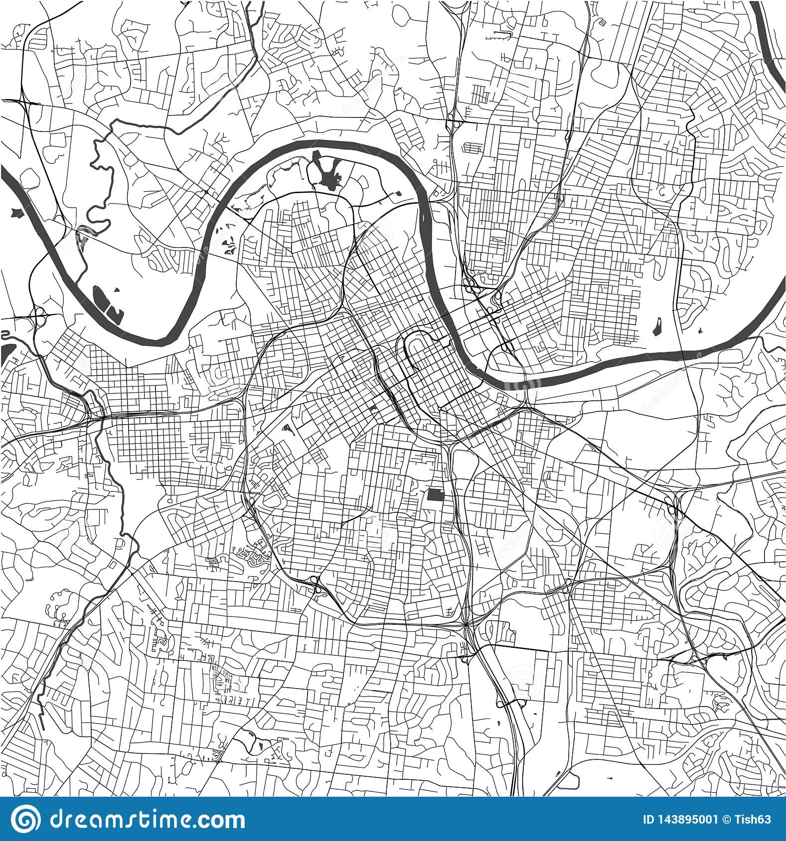 Map Of The City Of Nashville, Tennessee, USA Stock ...