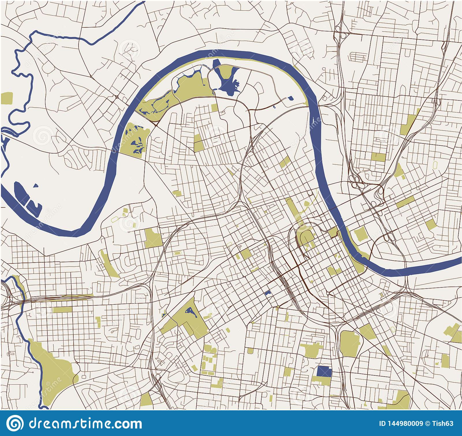 Map Of The City Of Nashville, Tennessee, USA Stock Vector ...