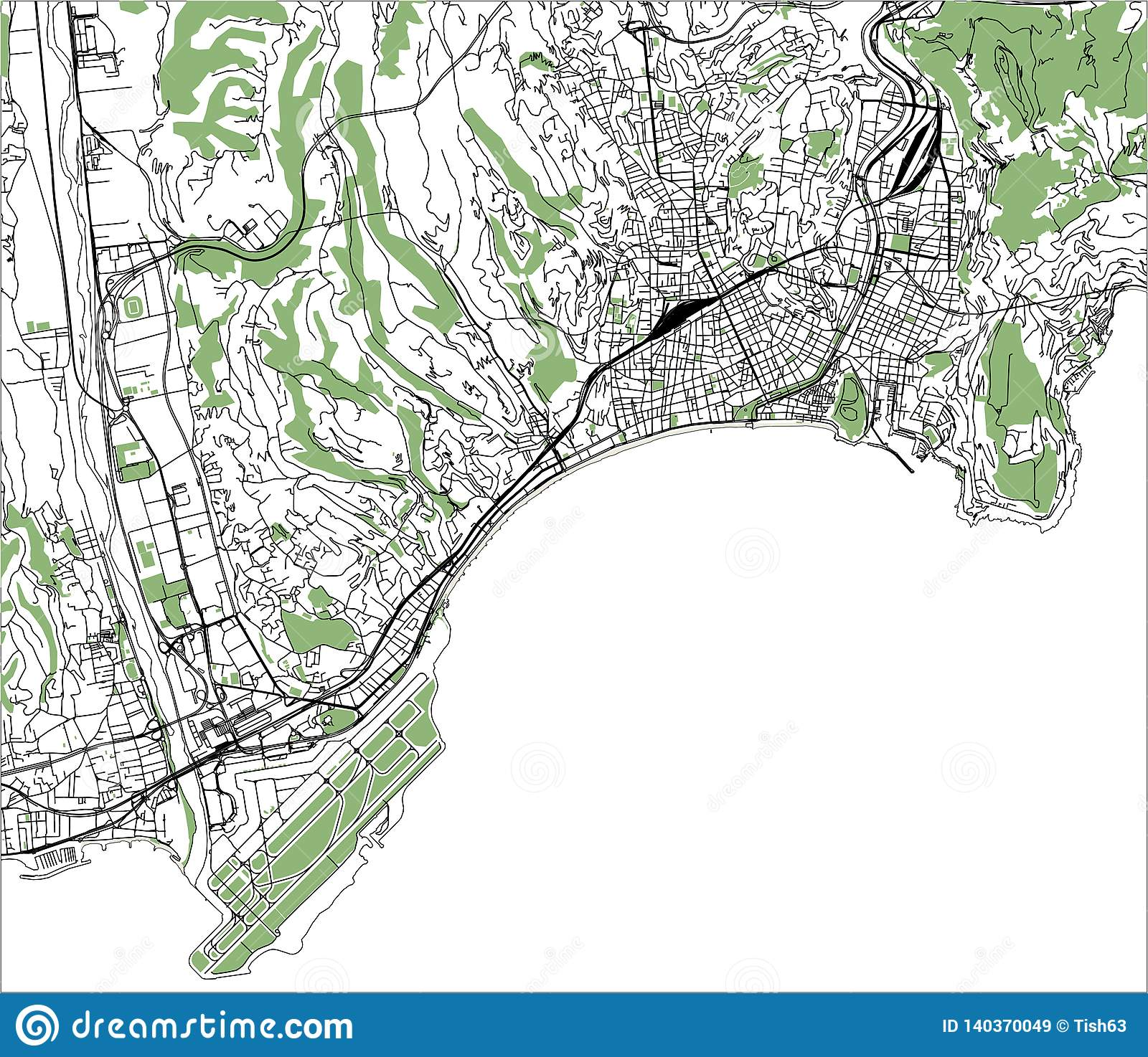 Map Of France French Riviera.Map Of The City Of Nice France Stock Illustration Illustration Of