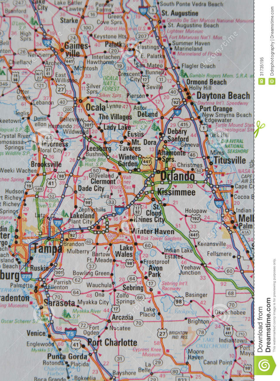 Map Of The City Of Orlando And Central Florida Stock Image